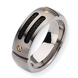 Titanium Black Plated 24k Gold Accent 8mm Brushed Wedding Band