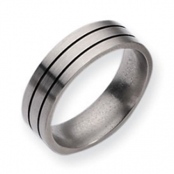 Titanium Black Enamel Flat Grooved 7mm Brushed Wedding Band