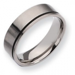 Titanium Black Accent Flat 7mm Brushed Wedding Band