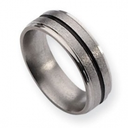 Titanium Black Accent 6mm Satin and Polished Wedding Band