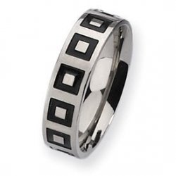 Titanium Enameled Flat 6mm Polished Wedding Band