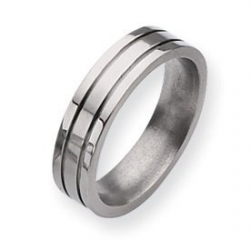 Titanium Grooved 6mm Brushed and Polished Wedding Band
