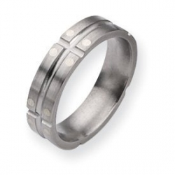 Titanium Sterling Silver Dots 6mm Satin and Polished Wedding Band