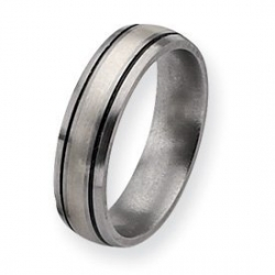 Titanium and Sterling Inlay Brushed with Antiquing 6mm Wedding Band