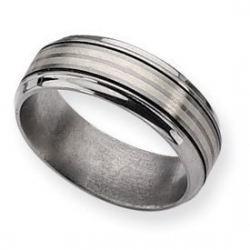 Titanium Sterling Silver Inlay 8mm Satin and Polished Wedding Band
