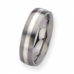 Titanium Sterling Silver Inlay 6mm Satin Wedding Band