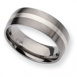 Titanium Sterling Silver Inlay 8mm Satin Wedding Band