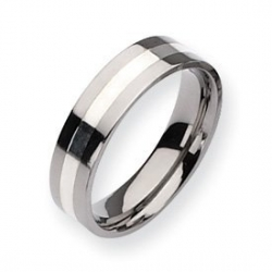 Titanium Sterling Silver Inlay 6mm Polished Wedding Band