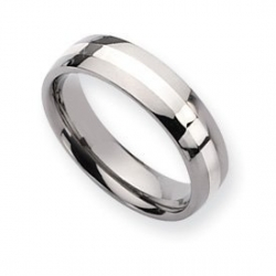 Titanium Sterling Silver Inlay 6mm Polished Round Wedding Band