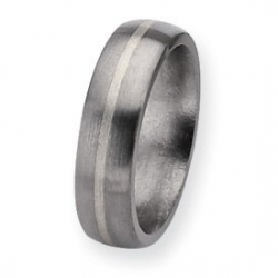 Titanium Sterling Silver Inlay 6mm Brushed Round Wedding Band