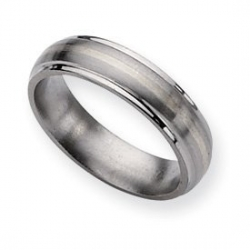 Titanium Sterling Silver Inlay 6mm Brushed and Polished Wedding Band
