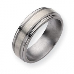 Titanium Sterling Silver Inlay 8mm Brushed and Polished Wedding Band