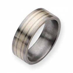 Titanium Sterling Silver Inlay Flat 8mm Brushed Wedding Band