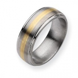 Titanium 14k Gold Inlay 8mm Brushed and Polished Wedding Band