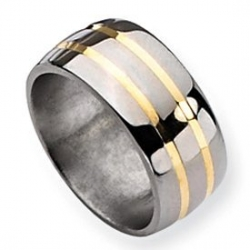 Titanium 14k Gold Inlay 10mm Polished Wedding Band