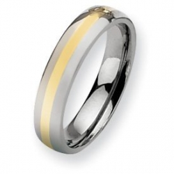 Titanium 14k Gold Inlay 5mm Polished Wedding Band