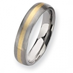 Titanium and 14k Inlay Brushed 5mm Wedding Band