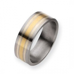 Titanium 14k Gold Inlay 8mm Polished Wedding Band