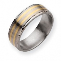 Titanium 14k Gold Inlay 8mm Satin and Polished Wedding Band