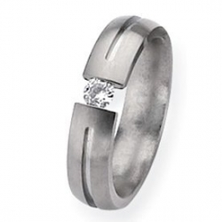 Titanium 5mm Diamond Brushed Wedding Band