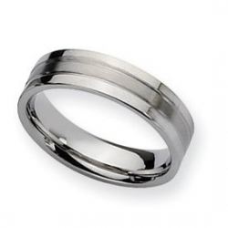 Stainless Steel Flat 6mm Satin and Polished Wedding Band