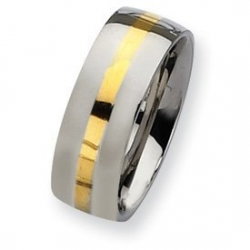 Stainless Steel and 14k Gold Inlay 8mm Polished Wedding Band