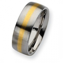 Stainless Steel 14k Gold Inlay 8mm Satin Wedding Band