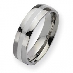 Stainless Steel Silver Inlay 6mm Polished Wedding Band