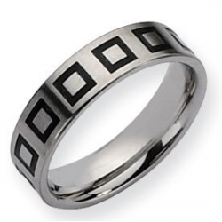 Stainless Steel Enameled Flat 6mm Brushed Wedding Band