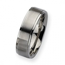 Stainless Steel Ridged Edge 7mm Satin and Polished Wedding Band