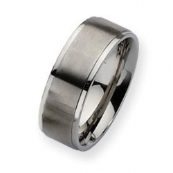 Stainless Steel Ridged Edge 8mm Satin and Polished Wedding Band