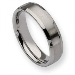 Stainless Steel Beveled Edge 6mm Brushed and Polished  Wedding Band