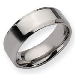Stainless Steel Beveled Edge 8mm Polished Wedding Band