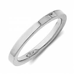 Sterling Silver 2mm Flat Comfort Fit Wedding Band