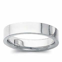 Sterling Silver 4mm Flat Comfort Fit Wedding Band