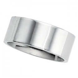 Sterling Silver 8mm Flat Comfort Fit Wedding Band