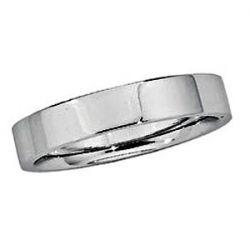 Sterling Silver 5mm Half Round Comfort Fit Flat  Wedding Band