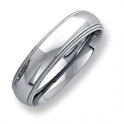 Sterling Silver 6mm Milgrain Comfort Fit  Wedding Band