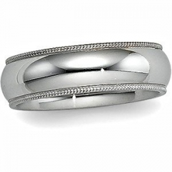 Sterling Silver 7mm Milgrain Comfort Fit  Wedding Band