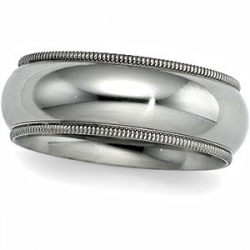 Sterling Silver 8mm Milgrain Comfort Fit  Wedding Band
