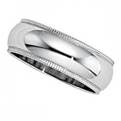 Sterling Silver 7mm Milgrain Wedding Band