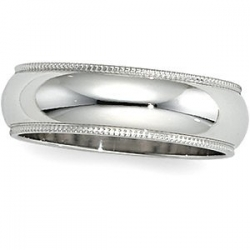 Sterling Silver 8mm Milgrain Wedding Band