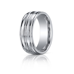 Cobalt Chrome Comfort Fit Ridged Edge 8mm Wedding Band