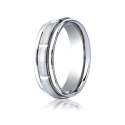 Cobalt Chrome Ridged Edge Comfort Fit 7mm Wedding Band