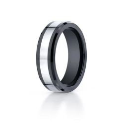 Cobalt Chrome   Black Ceramic Comfort Fit 7mm Wedding Band