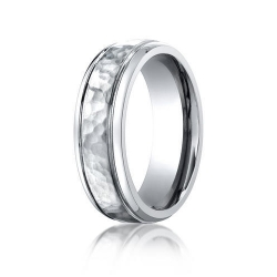 Cobalt Chrome Comfort Fit w  Hammered Inlay 7mm Wedding Band