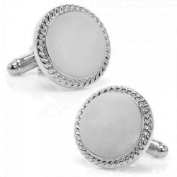 Sterling Silver Round  Rope Frame  Engraveable Cufflinks