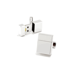 Silver Tone Rectangle  USB 4GB Flash Drive  Engraveable Cufflinks