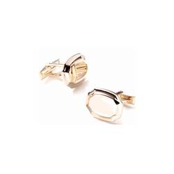14K Yellow Gold Tone   Shield  Engraveable Cufflinks