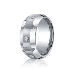 Cobalt Chrome Comfort Fit 10mm Diamond Wedding Band